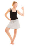 Fitness sporty girl showing ok okay hand sign gesture Stock Photography