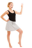 Fitness sporty girl showing ok okay hand sign gesture Royalty Free Stock Images