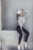 Fitness sporty girl wearing fashion clothes royalty free stock photos