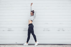 Fitness sporty girl wearing fashion clothes stock image