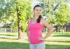 Fitness, Sporty ,Healthy Lifestyle , Smiling Female Relaxing Royalty Free Stock Photography