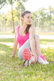 Fitness, Sporty ,Healthy Lifestyle , Smiling Female Relaxing Stock Image