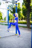 Fitness sporty model woman during outdoor exercises workout. Beautiful fit girl. Healthy lifestyle. Fitness sporty model woman during outdoor exercises workout stock photography