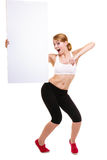 Fitness sporty woman holding blank empty ad banner Stock Images