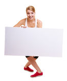 Fitness sporty woman holding blank empty ad banner Stock Photos