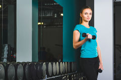 Fitness sporty young sexy Woman in gym doing exercises with dumbbells Stock Image
