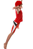 Fitness star jumps. An active fit  boy doing star jumps - side profile Royalty Free Stock Images