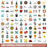 100 fitness startup icons set, flat style. 100 fitness startup icons set in flat style for any design vector illustration stock illustration