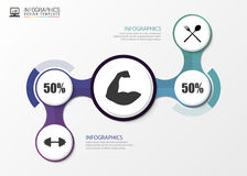 Fitness statistics and infographics with biceps. Vector illustration Royalty Free Stock Photo