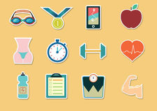Fitness sticker icons Royalty Free Stock Photo