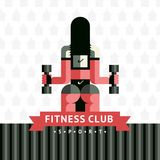 Fitness sticker logo in vector sovermennom flat geometric style with a ribbon. Girl with dumbbells Rear view on the background of the arrow seamless pattern Royalty Free Stock Images