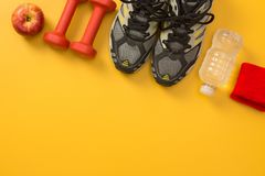 Fitness still life with copy space royalty free stock photography