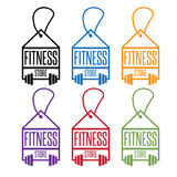 Fitness store tags with barbells vector Royalty Free Stock Photos