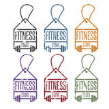 Fitness store tags with barbells vector Stock Image