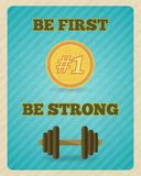 Fitness strength exercise motivation poster Stock Image