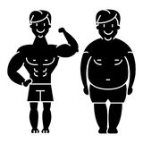 Fitness - before and after - strong man - fat guy icon, vector illustration  Stock Image