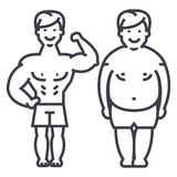 Fitness,before and after,strong man,fat guy vector line icon, sign, illustration on background, editable strokes Royalty Free Stock Photos