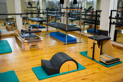 Fitness studio with different gym equipment Stock Photography