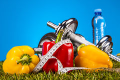 Fitness stuff with color, bright background Stock Image