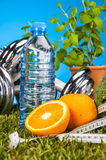 Fitness stuff with vivid colors Royalty Free Stock Image