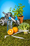 Fitness stuff with vivid colors Royalty Free Stock Images