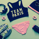 Fitness style. Sports Accessory Set on green backgroun Stock Photography