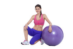 Fitness with Swiss ball royalty free stock photography