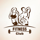 Fitness symbol, outlined vector sketch Royalty Free Stock Photography