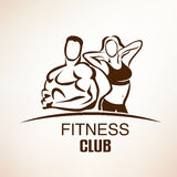 Fitness symbol, outlined vector sketch. Emblem or label template Royalty Free Stock Images