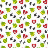 Fitness symbols seamless pattern Royalty Free Stock Photography
