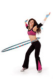 Fitness teacher demonstrating hooping Stock Image