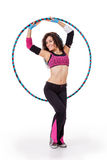 Fitness teacher posing with hula hoop Stock Photography