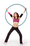 Fitness teacher posing with hula hoop Stock Images