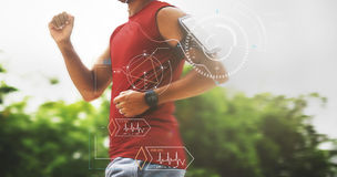 Fitness Tech Healthcare Wellness Innovation Concept. People Fitness Tech Healthcare Wellness Innovation royalty free stock photo
