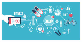 Fitness and technology royalty free illustration
