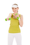 Fitness teenager woman with dumbbell Royalty Free Stock Images