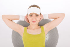 Fitness teenager woman exercise in sportive outfit Royalty Free Stock Image
