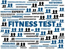 FITNESS TEST - image with words associated with the topic RECRUITING, word, image, illustration Stock Image