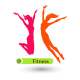 Fitness theme. Colour fitness women on the white background Royalty Free Stock Photo