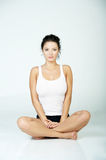 Fitness Time. Young beautiful woman during fitness time and exercising Royalty Free Stock Images