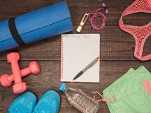 Fitness time, everything is ready for a good workout. Time fitness-form, shoes, music player, water bottle, rug and dumbbells. Ahead of class training Royalty Free Stock Image