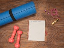 Fitness time, everything is ready for a good workout royalty free stock photo