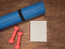 Fitness time, everything is ready for a good workout. Time fitness- water bottle, rug and dumbbells. Ahead of class training Royalty Free Stock Image