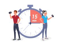 Fitness time flat illustration stock illustration