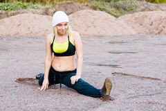 Fitness Time At Outdoors. Young woman during fitness outdoor royalty free stock photography