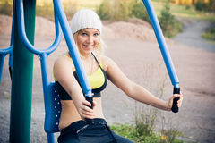 Fitness Time At Outdoors. Young nice blond woman during fitness outdoor royalty free stock image