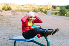 Fitness Time At Outdoors. Young nice blond woman during fitness outdoor royalty free stock photos
