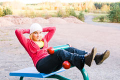 Fitness Time At Outdoors Stock Photos