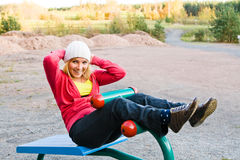 Fitness Time At Outdoors. Young nice blond woman during fitness outdoor stock photography