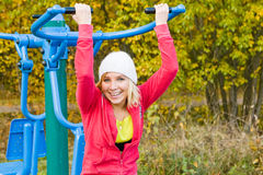 Fitness Time At Outdoors. Young nice blond woman during fitness outdoor stock images